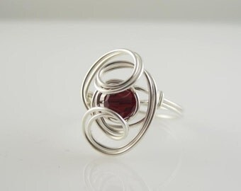 RI-0091 Individual Birthstone Swarovski Crystal  Handmade Ring Wire Wrapped With Sterling Silver Wire