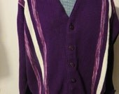 Vtg 60s Purple with Ombre Purple and White Stripes V neck Rockabilly Knit Cardigan Sweater