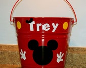 Personalized Easter, Baby shower or Birthday pail - Mickey Mouse silhouette with polka dots and Mickey gloves