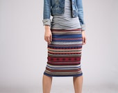 Ethnic Patterned Pencil Skirt - Wine