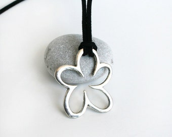 Flower Necklace - Outline Flower Necklace (2 charm colors and many cord colors)