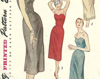 Simplicity 3594 / Vintage 50s Sewing Pattern / Strapless Evening Dress And Slip / Size 14 Bust 32