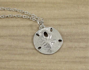 Sand Dollar Necklace, Silver Sand Dollar Charm on a Silver Plated Cable Chain
