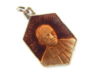 Vintage French Red Enamel Saint Mutien-Marie Wiaux Catholic Medal - Servant of God St Religious Charm - Signum Fidei - 13A
