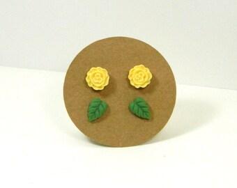 Stud Earring Set - Cream Flower Earrings - Green Leaf Studs - Stud Set