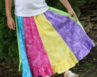 Girls Long Handmade Modest Bright Rainbow Butterfly Ruffled Twirl Skirt Size 4-10