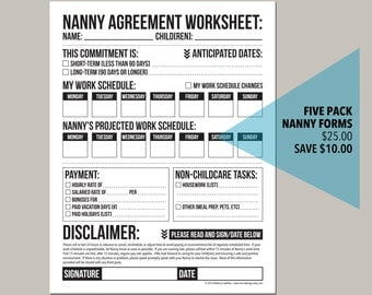 the nanny pack: set of five forms for childcare workers or nannies