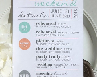 Wedding Itinerary - Style IT4 - COOL COLLECTION | wedding itinerary  |  wedding schedule  |  wedding timeline - Printable