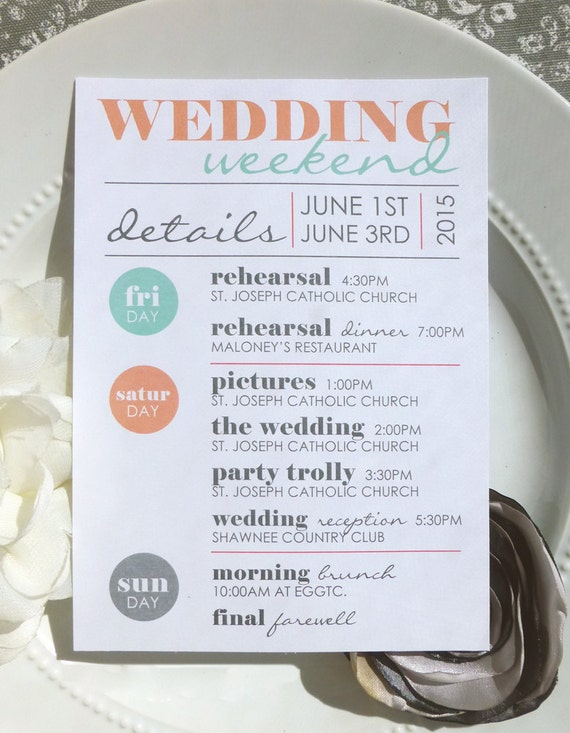 wedding itinerary style it4 cool collection wedding