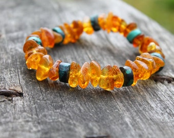 Turquoise Baltic Amber Raw Chunky Bracelet Natural Jewelry Honey Teal Blue Green Orange Warm Colors Gift for her