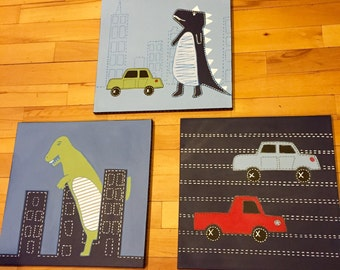 3 pc Dino and car canvas art set for boys room or nursery