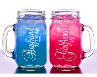 Valentine's Day Boyfriend Girlfriend Personalized Mason Jars Set of 2 Engraved Gift Idea Couples for him her personalized BF GF Design