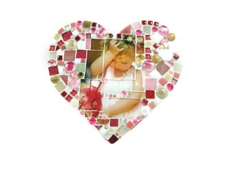 HEART-SHAPED custom photo mosaic, personalized with your photo, text.  tagt pink, heart, pastel heart, custom colors photo mosaic tagt