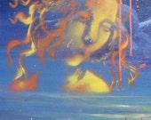 Leda in the Sky, Original Landscape Painting, Homage to Leonardo, Stencil Surreal Art
