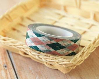 Green ARGYLE Fancy Designs japanese washi masking tape