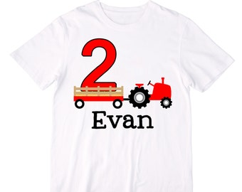 Personalized Red Tractor Birthday Shirt or Bodysuit - Personalized with ANY Name and Age