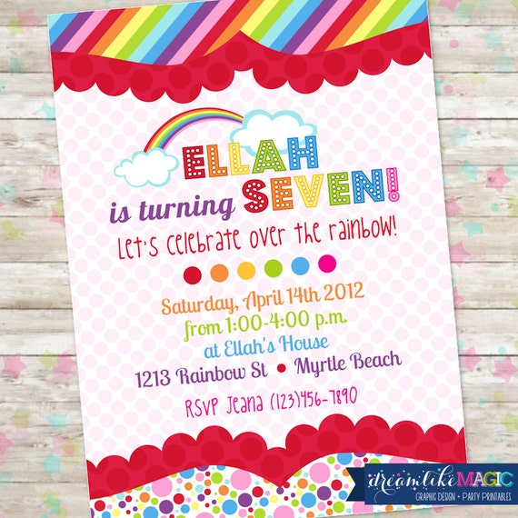 Rainbow Birthday Invite, Over the Rainbow, Printable Invitation, DIY Invitation, Spring Birthday, Rainbow Clouds, Rainbow with Pink Invite