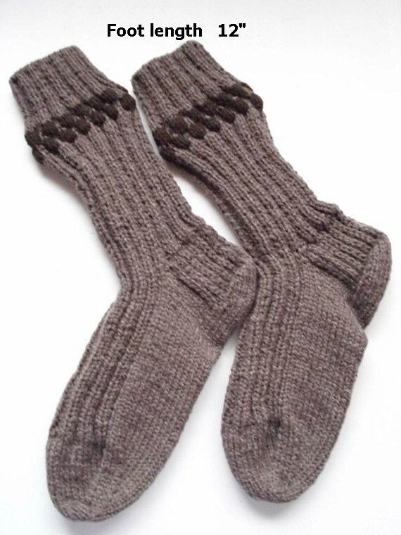 "Men's wool socks hand knit. Foot length 12 ""Length from cuff to heel 14 "". Oversized.Boot socks .Boot liners. Reinforced heel .Ready to ship"
