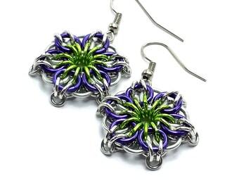 Purple and greenery Celtic Mandala Flower Star Chainmaille Earrings