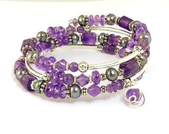 Purple Amethyst Gemstone Wrap Bracelet, Gray Pearl and Orchid Purple Silver Memory Wire Bracelet