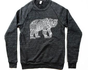 NEW! Mens Tribal Bear Sweatshirt - Black Aztec Pattern Bear Longsleeve - Small, Medium, Large, Extra Large