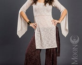 The Hooded Tunic Top in Ivory Soft White Sweater Knit by Opal Moon Designs (Size S-XXL)
