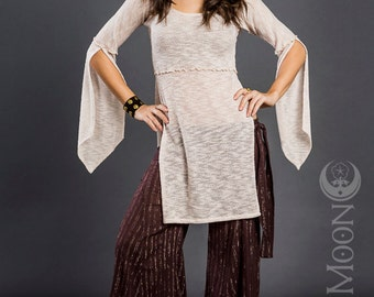 LAST ONE: The Hooded Tunic Top in Ivory Soft White Sweater Knit by Opal Moon Designs (Size L-XL)