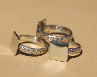 Nickel Silver Flourish Ring with Square Glue Pad Finding for Gluing - Size 6