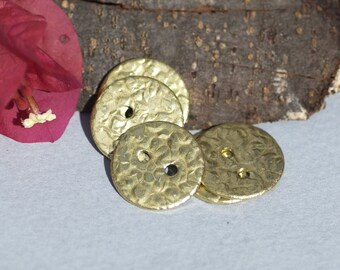Buttons 17mm  with two Holes Hammered Textured Blanks Cutout for Metalworking Enameling Variety of Metals 6 pieces