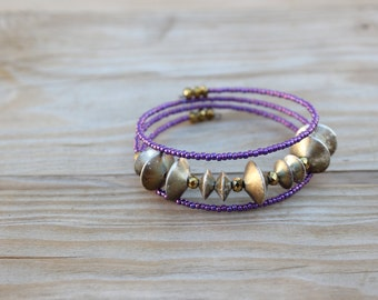 Abstract purple and vintage gold stacked wire bracelet - faceted crystal