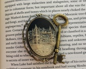 London Tower Bridge Skeleton Key Brooch, badge, pin - steampunk, victorian gothic jewellery