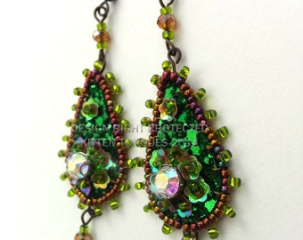 Green and Bronze Sparkling Beaded and Sequined Glitter Earrings