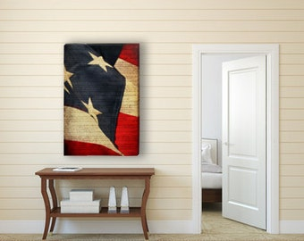American Flag Canvas Gallery Wrap, Large Flag Art, Americana Canvas Art, Red White and Blue, Stars and Stripes, 4th of July Decor, Patriotic