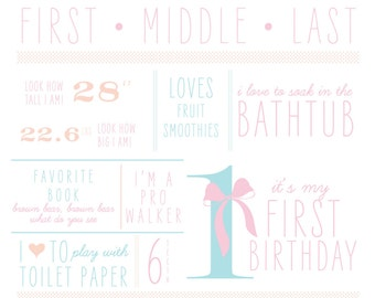 "First Birthday Milestone 20"" x 30"" Poster"