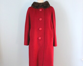 1950s red wool coat /  50s mink trim coat / Rothmoor coat