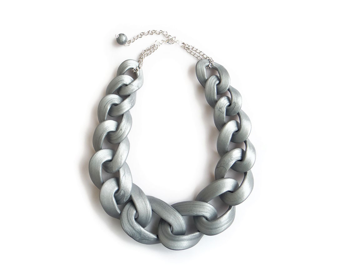 silver chain link necklace chunky chain link necklace