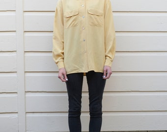 Vintage Silk 1990's Minimalist Buttercup Yellow Button Up Long Sleeve Oxford Blouse S/M
