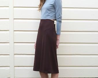 Vintage DKNY Minimalist 1990's High Waisted Chocolate Brown Viscose Midi Column Skirt S/M