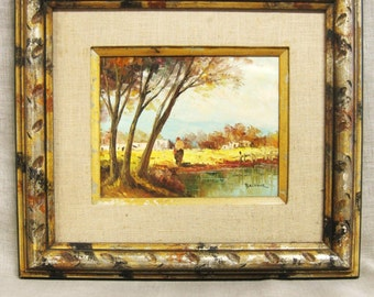 Mid-Century Landscape Painting, Signed Balfour, Original Fine Art, Framed Oil Painting, Female Figure, Handmade, European Style