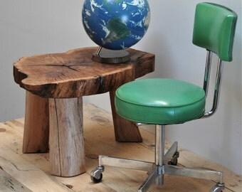 Oak Tree Stump Table, Pecan Legs, Live Edge