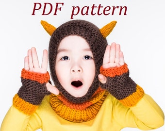 PDF Little Monster Coverall Hat and Fingerless Mittens Knitting Pattern