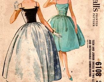 1960s Cocktail Evening Dress w/ Cummerbund - Vintage Pattern McCall's 6108 - Bust 32