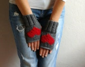 Fingerless Gloves with Hearts, Gray Gloves, Heart Gloves Valentine's Gift
