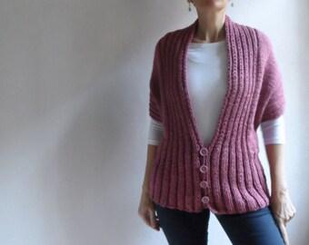Womens Chunky Vest, Pink Vest, Long Sleeved Hand Knitted Shrug