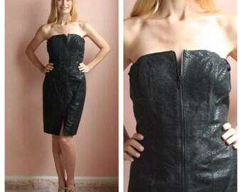 80s Leather Dress / Body Con Dress / Hot Date / Little Black Dress / Front Zipper Dress / New Years Eve Dress