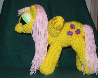 Fluttershy Winged Crochet Pony Stuffed Animal Toy
