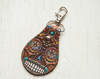 Sugar Skull Leather Keychain or Clip - painted and hand stamped Fob - Your Choice of Keychain Style - Day of the Dead - Mexicali