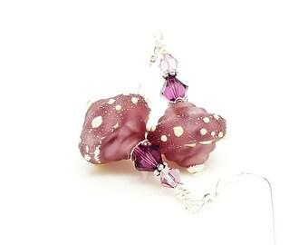 Purple Earrings, Baroque Earrings, Lampwork Earrings, Glass Earrings, Lampwork Jewelry, Unique Earrings, Glass Beads Jewelry, Dangle Earring