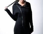 NEW Black Sweater Coat / Zipper Cardigan / Long Jumper / High Collar Sweater / Warm Wool Jacket / marcellamoda - MC111