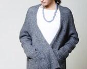 Oversize Knit Sweater Cardigan / Asymmetric Loose Coat / Knitted Sweater / Wool Coat / marcellamoda - MC071